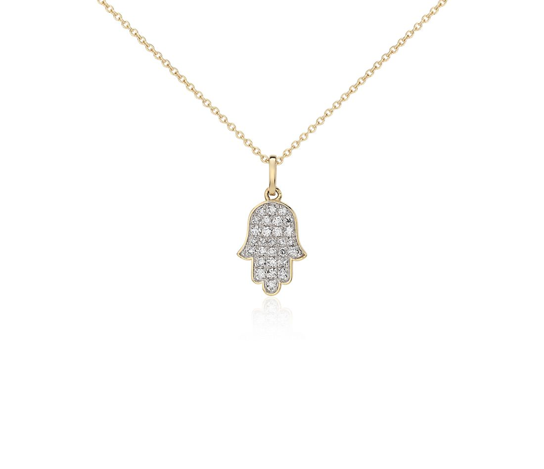 Mini Hamsa Diamond Pendant in 14k Yellow Gold  (1/10 ct. tw.)