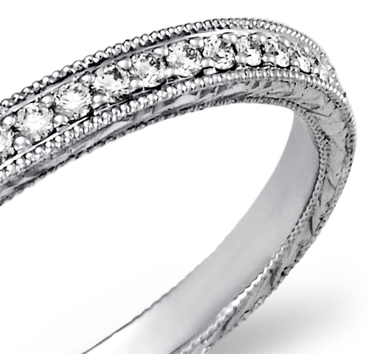 Hand Engraved Micropavé Diamond Ring in Platinum (1/5 ct. tw.)