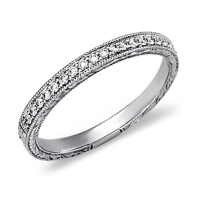 Hand Engraved Micropavé Diamond Ring in 14k White Gold (1/5 ct. tw.)