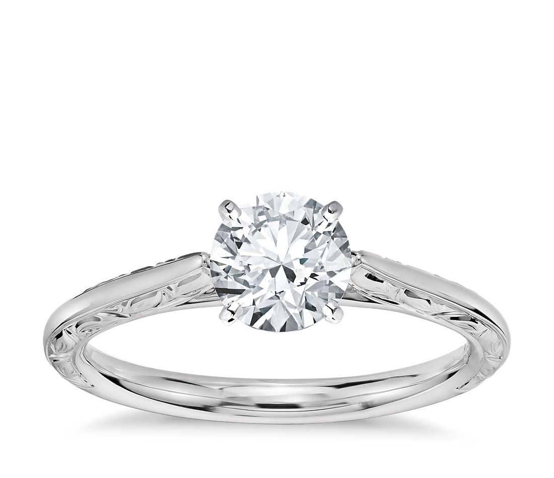 Hand Engraved Profile Solitaire Engagement Ring In