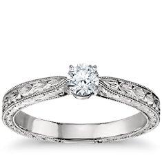 铂金 手工雕刻单石订婚戒指