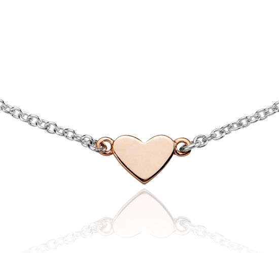 Heart and Arrow Necklace in Sterling Silver and Rose Gold Vermeil