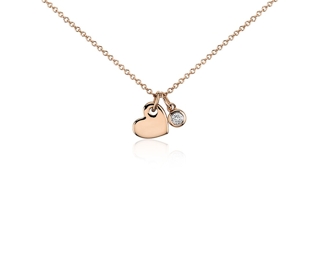 Heart And Diamond Charm Pendant In 14k Rose Gold 1 20 Ct