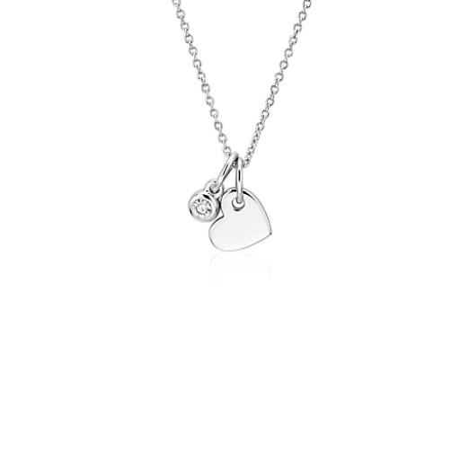 Heart and Diamond Charm Pendant in 14k White Gold