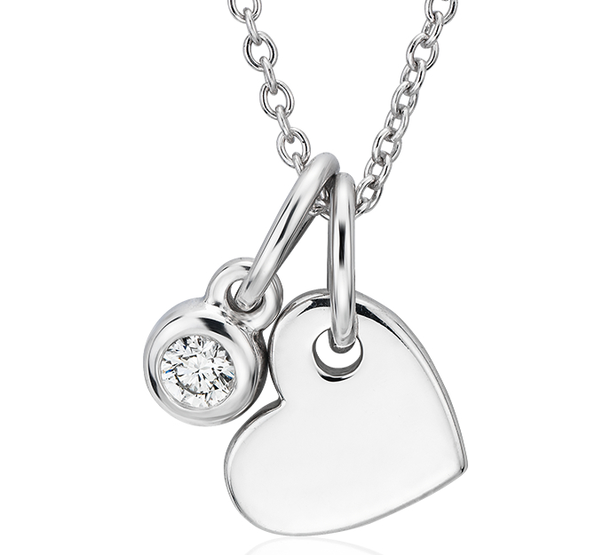 Heart and Diamond Charm Pendant in 14k White Gold (1/20 ct. tw.)