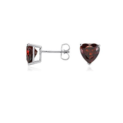 Garnet Heart Earrings in Sterling Silver (8mm)