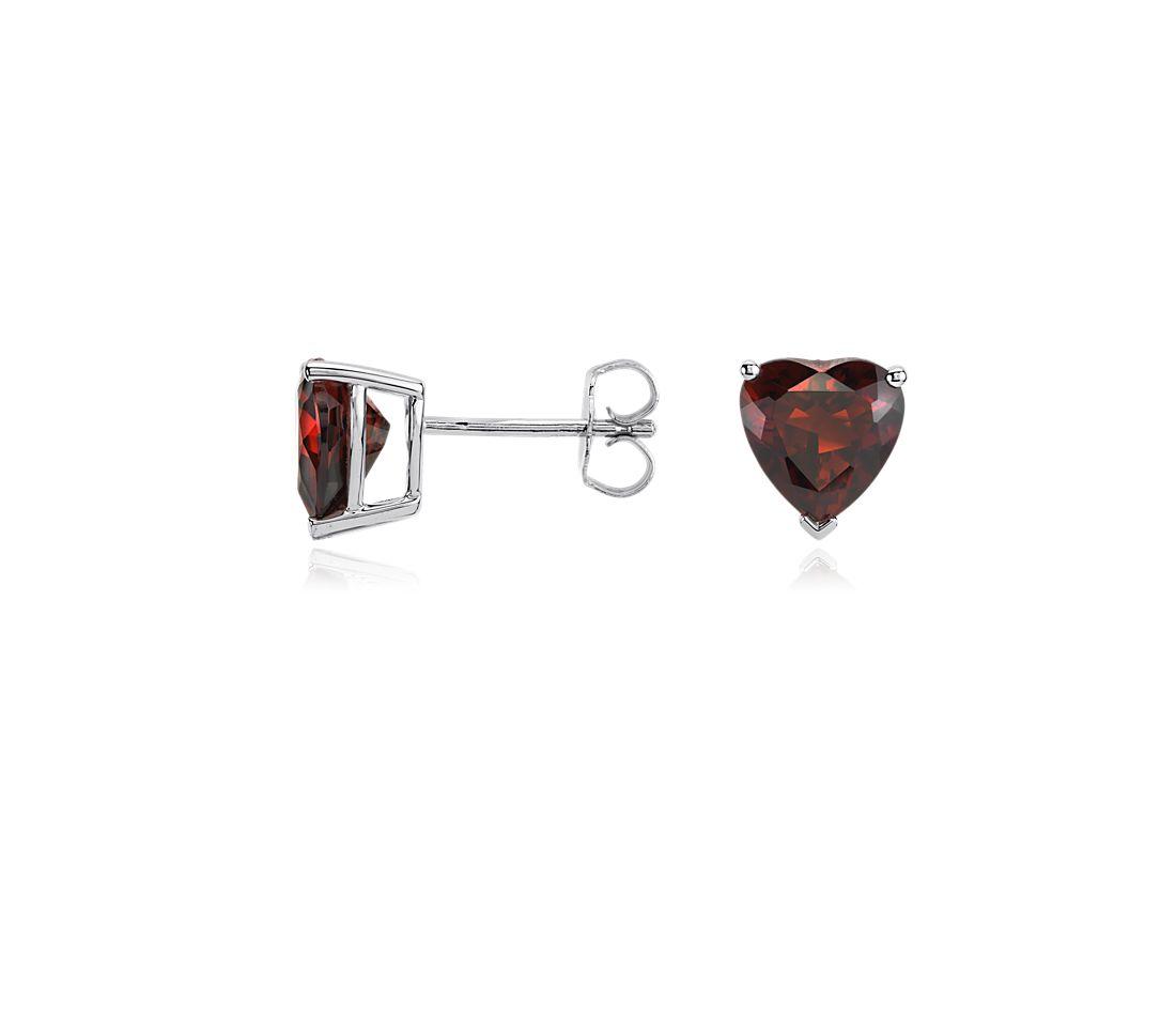 Boucles d'oreilles cœur grenat en argent sterling (8mm)