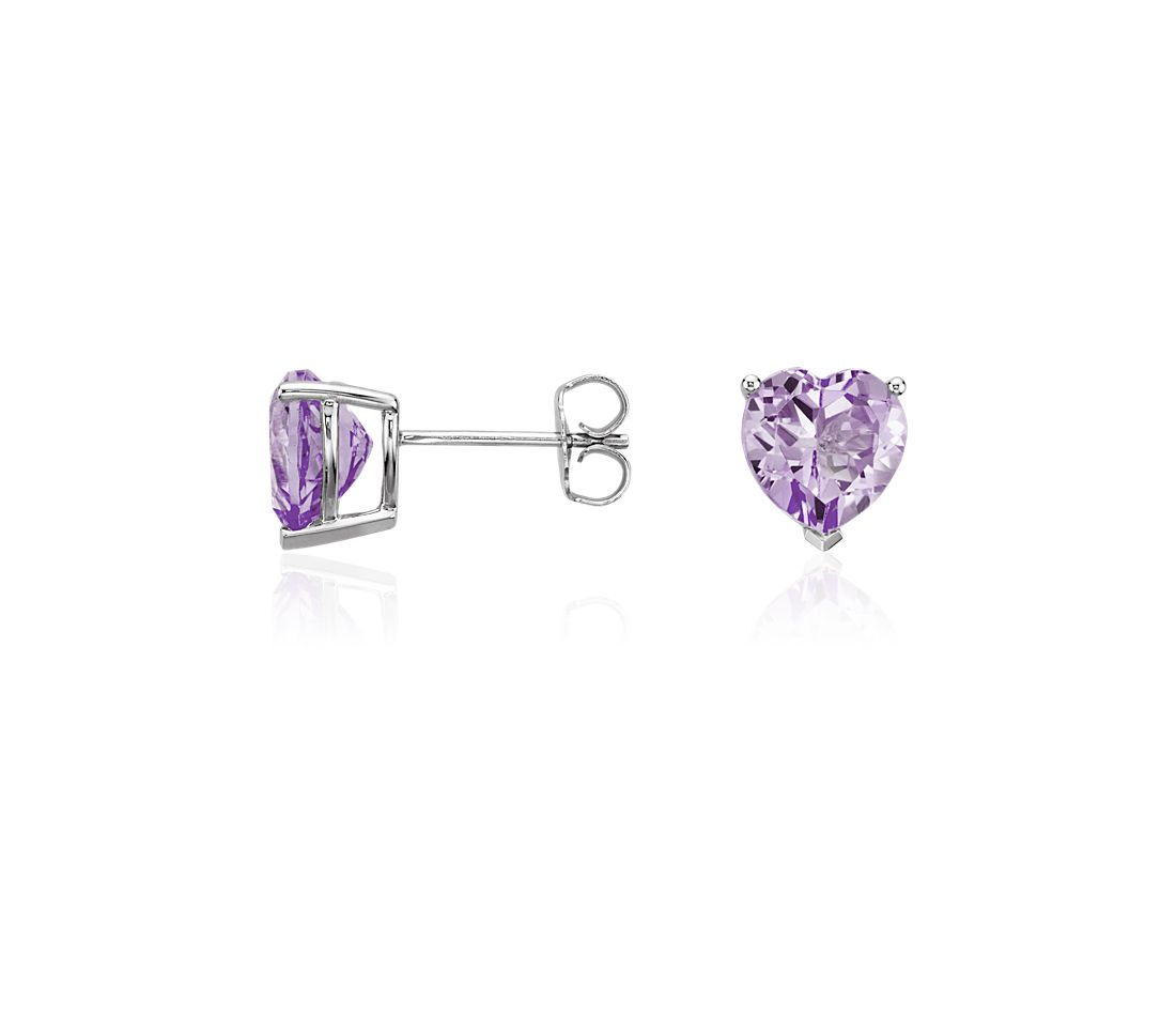 Lavender Amethyst Heart Earrings in Sterling Silver