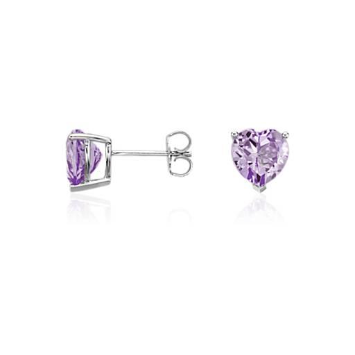 Lavender Amethyst Heart Earrings in Sterling Silver (8mm)