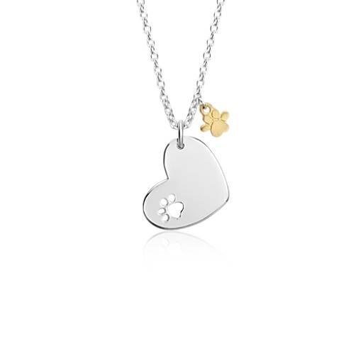 Pendentif cœur avec breloque empreinte de patte en argent sterling et vermeil or jaune 18carats