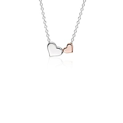 Heart Pendant in Sterling Silver and Rose Gold Vermeil