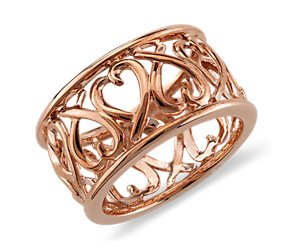 Open Heart Ring in 14k Rose Gold