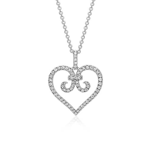 Heart Scroll Diamond Pendant in 14k White Gold
