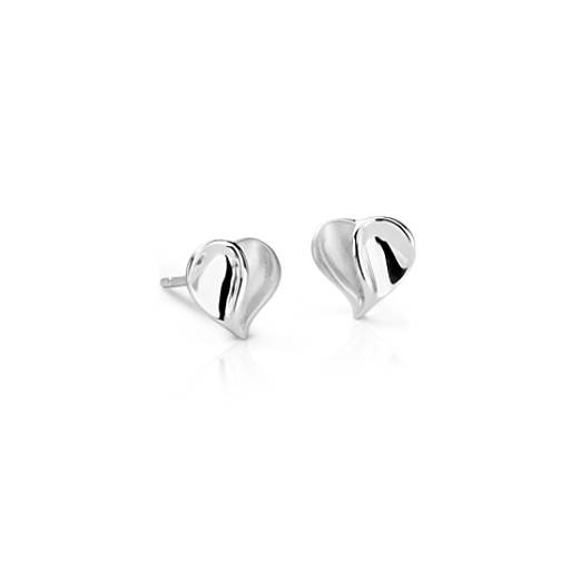 Satin Heart Stud Earrings in Sterling Silver