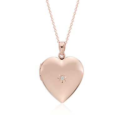 Engraveable Sweetheart Locket with Diamond Detail in 14k Rose Gold