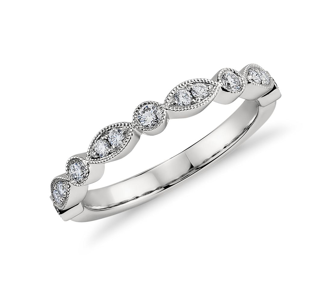 Milgrain Marquise and Dot Diamond Ring in Platinum (1/5 ct. tw.)