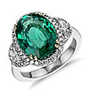 Heirloom Emerald and Half-Moon Diamond Halo Ring in 18k White Gold (4.70 cts)