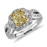Heirloom Flourish Fancy Yellow Split Shank Diamond Ring in 18k White Gold (1.75 ct. tw.)