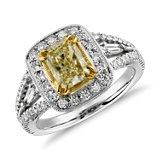 Flourish Fancy Yellow Diamond Halo Ring in 18k White Gold (2.10 ct. tw.)