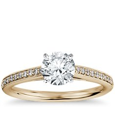 Heirloom Petite Cathedral Pavé Diamond Engagement Ring in 18k Yellow Gold (1/10 ct. tw.)