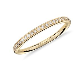 Heirloom Petite Pavé Diamond Ring in 18k Yellow Gold