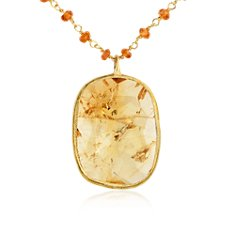 Hessonite Garnet and Citrine Necklace in 18k Yellow Gold Vermeil