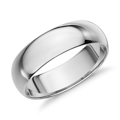 Mid-weight Comfort Fit Wedding Ring in 14k White Gold (6mm)