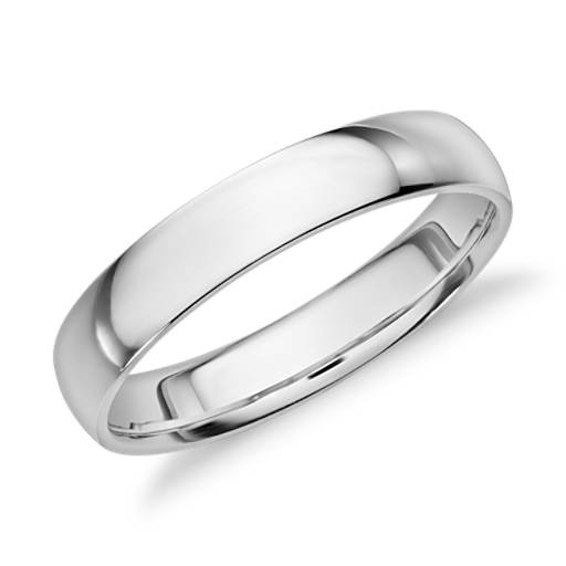 Mid-weight Comfort Fit Wedding Ring in 14k White Gold (4mm)