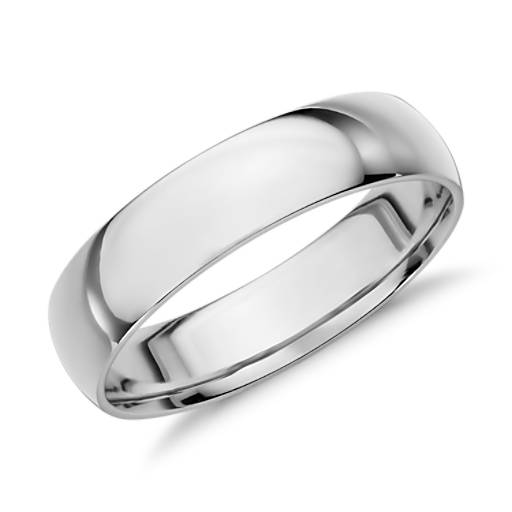 Mid-weight Comfort Fit Wedding Ring in 14k White Gold (5mm)