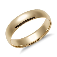 Alianza de diseño redondeado de peso intermedio en oro amarillo de 14k (5mm)