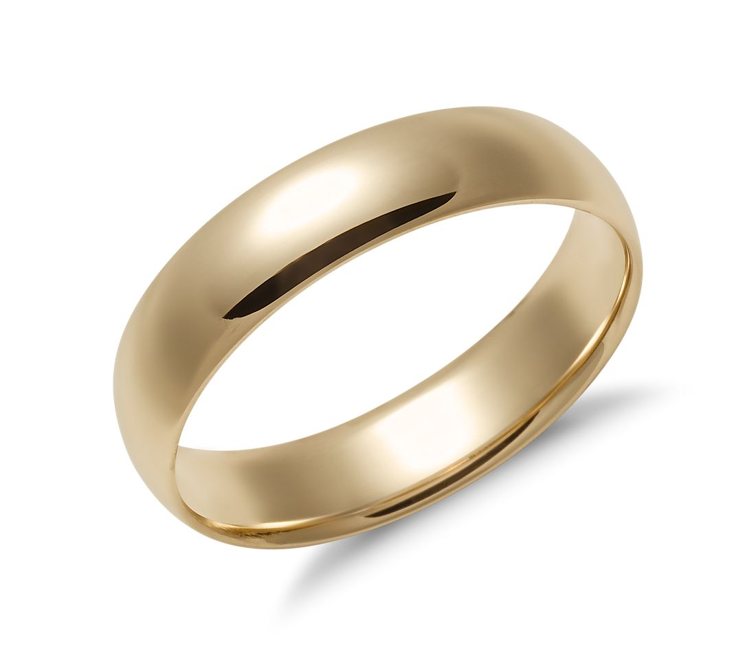 mid weight comfort fit wedding ring in 14k yellow gold 5mm blue