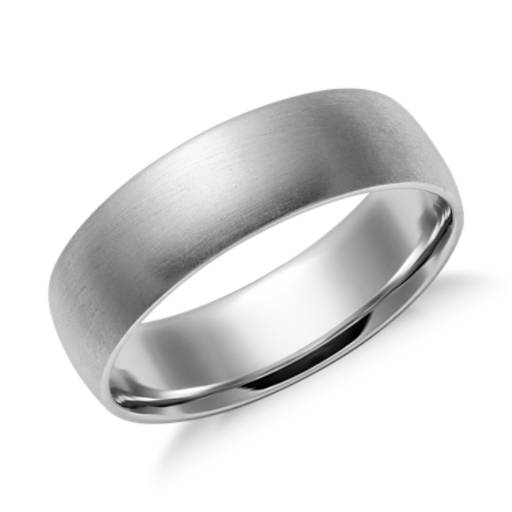 Matte Mid-weight Comfort Fit Wedding Ring in Platinum (6mm)