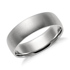 Matte Mid-weight Comfort Fit Wedding Band in Platinum (6mm)