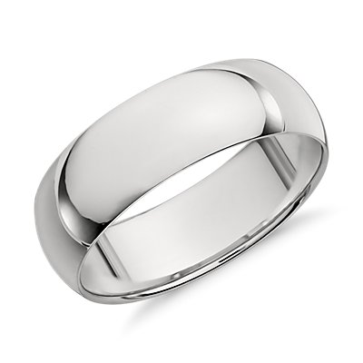 Mid-weight Comfort Fit Wedding Band in Platinum (7mm)