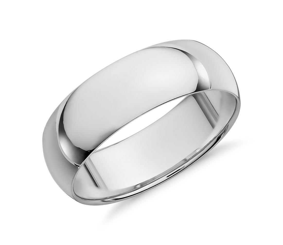 Mid-weight Comfort Fit Wedding Ring in Platinum (7mm)