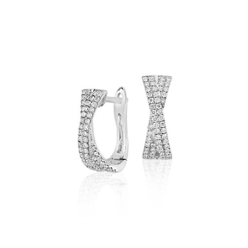 Criss-Cross Diamond Hoop Earrings in 14k White Gold