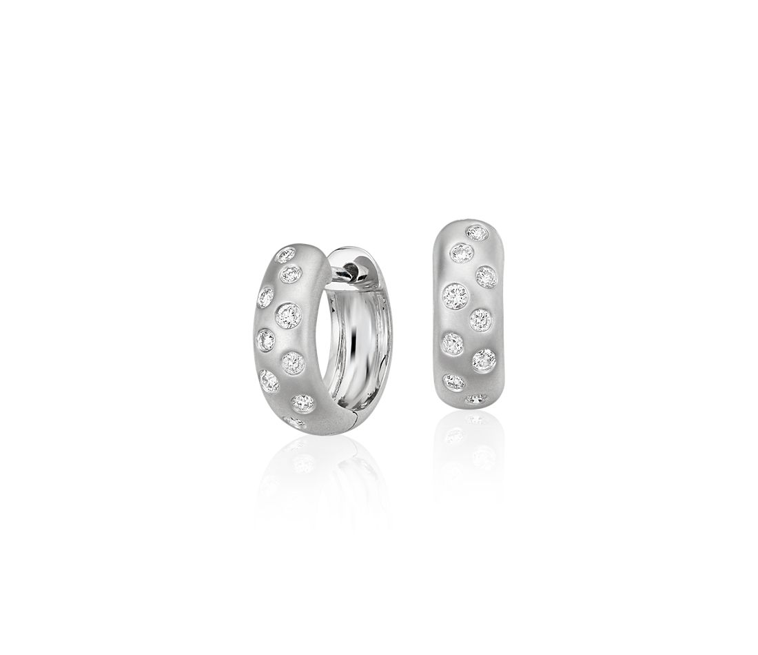 Starlight Hoop Earrings in 14k White Gold (1/5 ct. tw.)