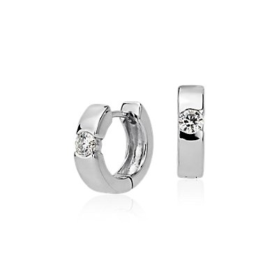 Diamond Hoop Earrings in 14k White Gold (3/8 ct. tw.)