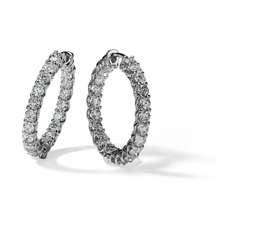 Diamond Hoop Earrings in 14k White Gold (3 1/2 ct. tw.)