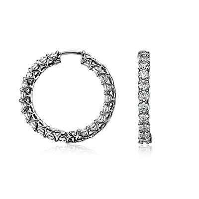 Diamond Eternity Hoop Earrings in 14k White Gold (3 1/2 ct. tw.)