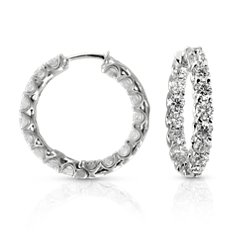 Claw-Set Hoop Diamond Earrings in 14k White Gold (4 1/2 ct. tw.)