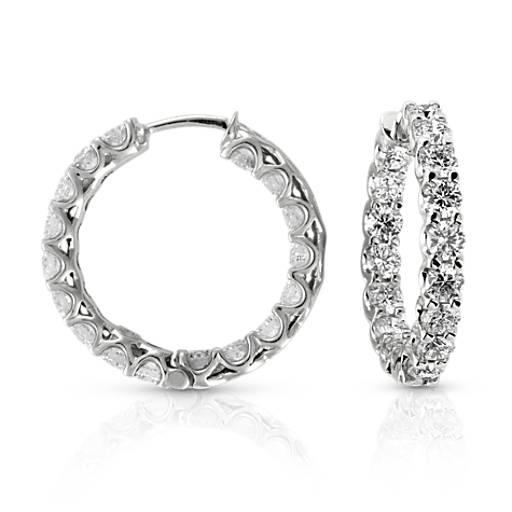 Prong-Set Hoop Diamond Earrings in 14k White Gold (4 1/2 ct. tw.)