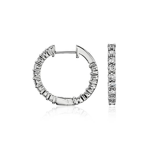 Diamond Hoop Earrings in 14k White Gold (1 ct. tw.)