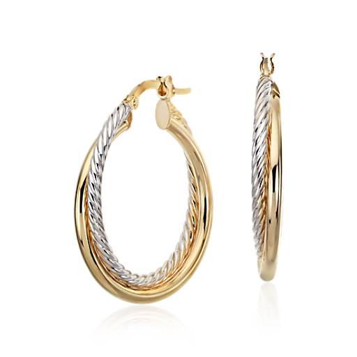 "Twisted Hoop Earrings in 14k Yellow and White Gold (1"")"