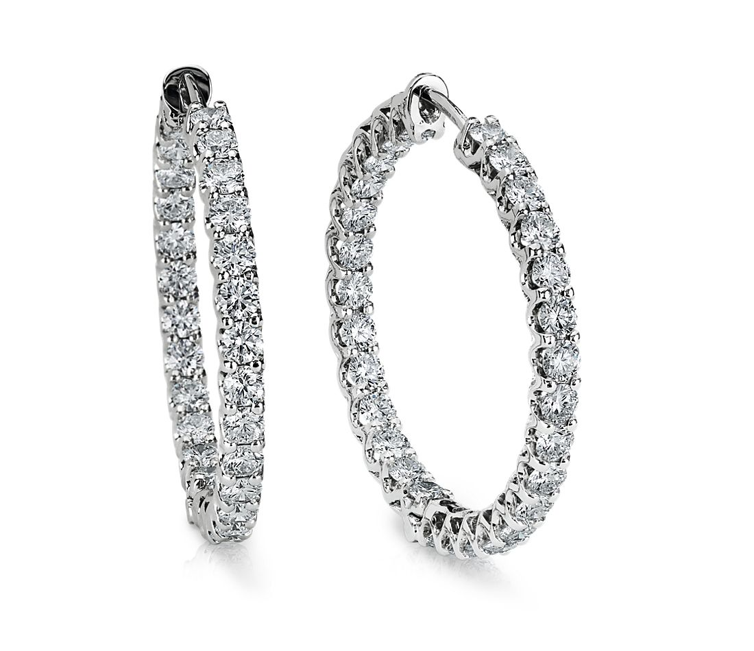 Prong-Set Hoop Diamond Earrings in 14k White Gold (4 3/4 ct. tw.)