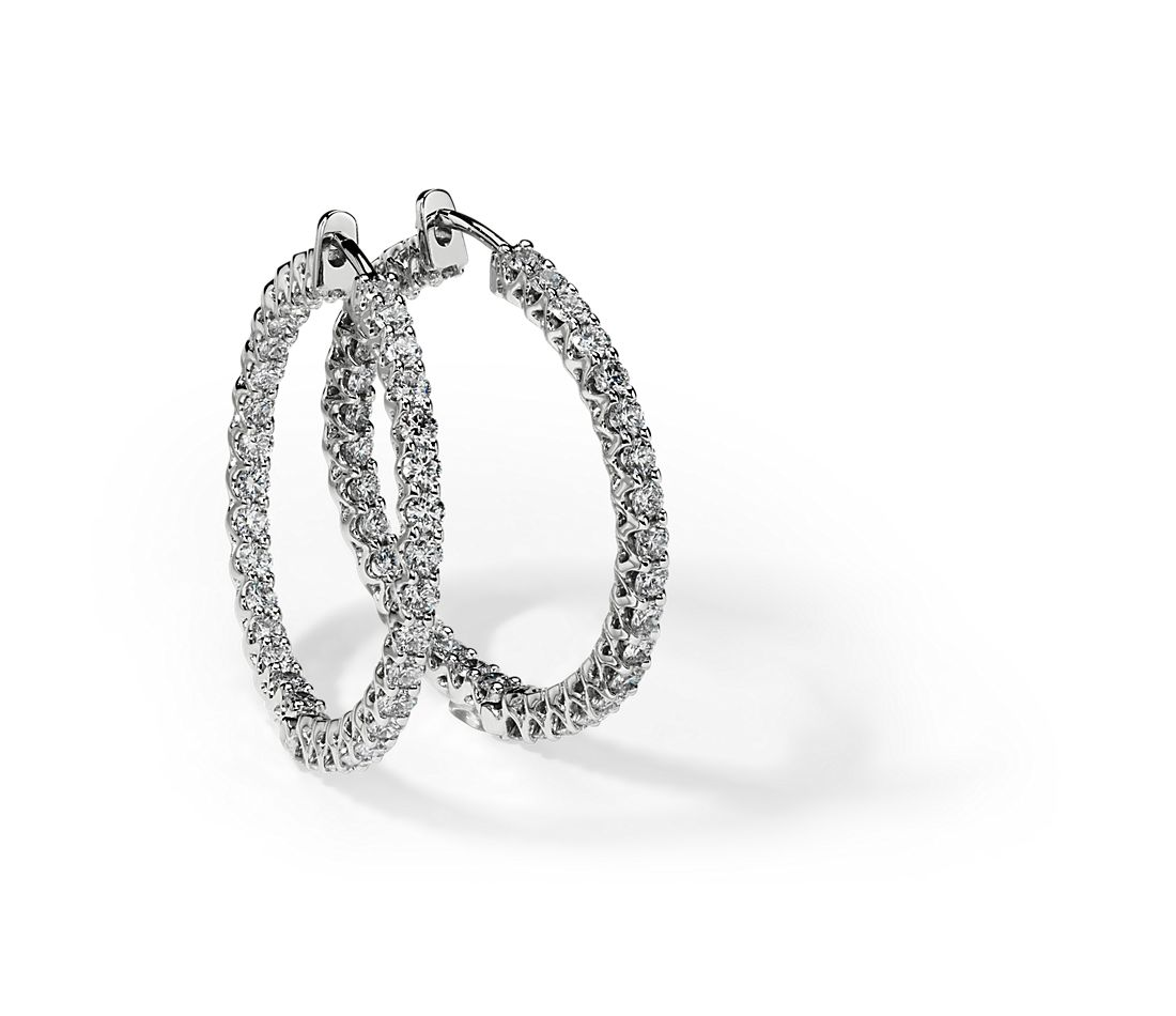 Diamond Hoop Earrings in 14k White Gold (3 ct. tw.)