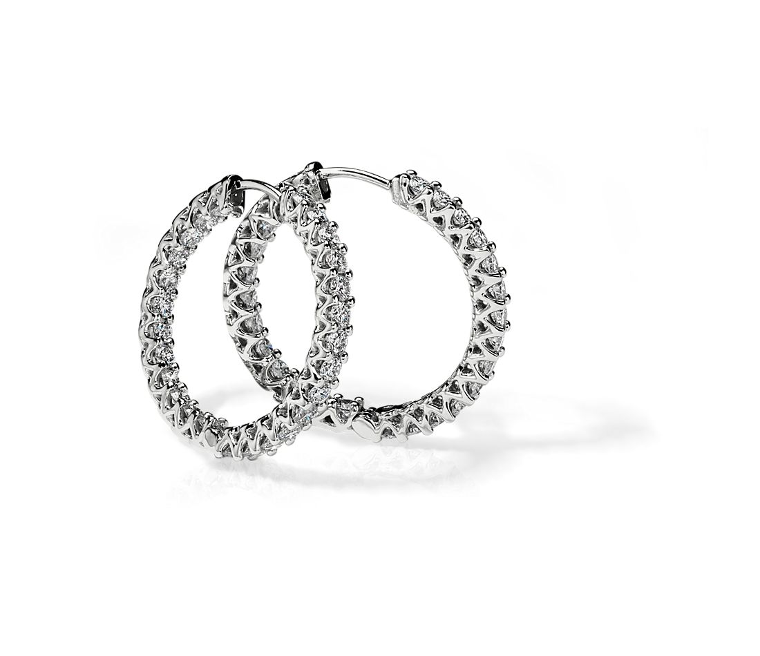 Diamond Eternity Hoop Earrings in 14k White Gold (2 1/5 ct. tw.)