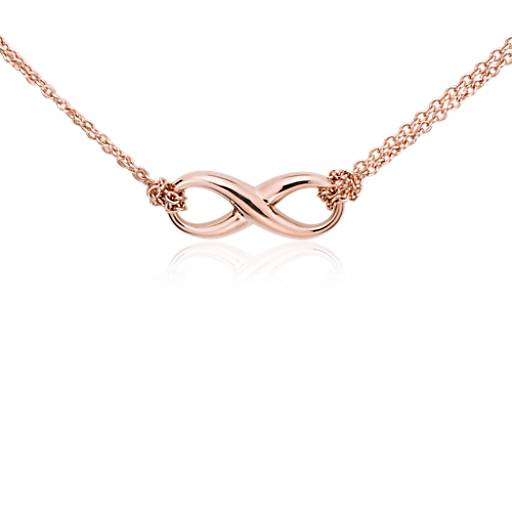 Infinity Necklace in Rose Gold Vermeil