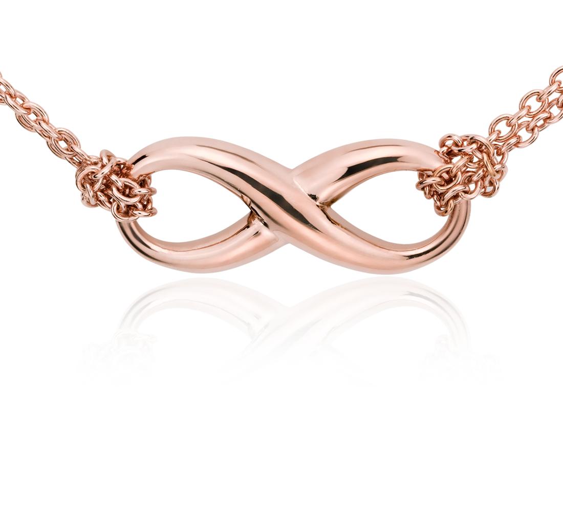 Collar con forma del símbolo del infinito en plata bañada en oro rosado