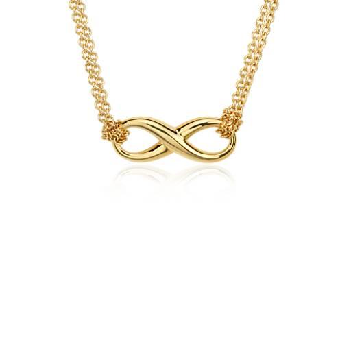 Collar con forma del símbolo del infinito en plata bañada en oro amarillo de 18k